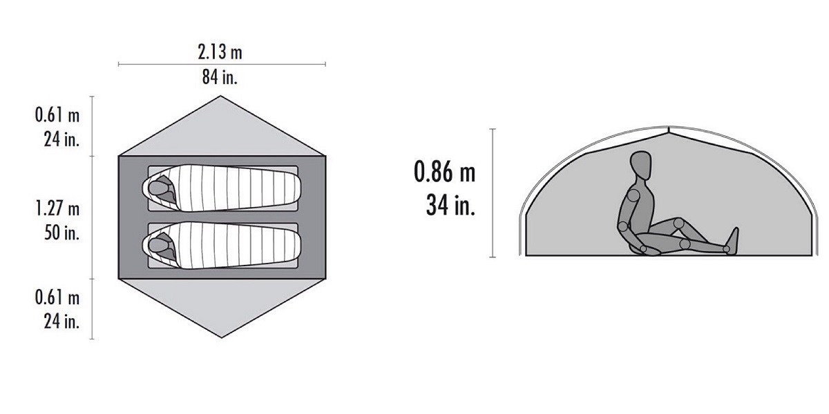 MSR Carbon Reflex 2 Ultralight Tent - Dimensions