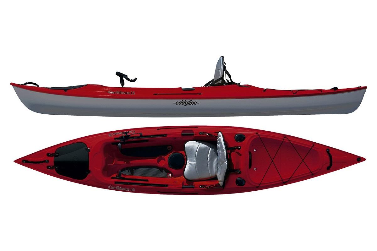 Eddyline Caribbean 12 Angler Kayak - Red Pearl / White
