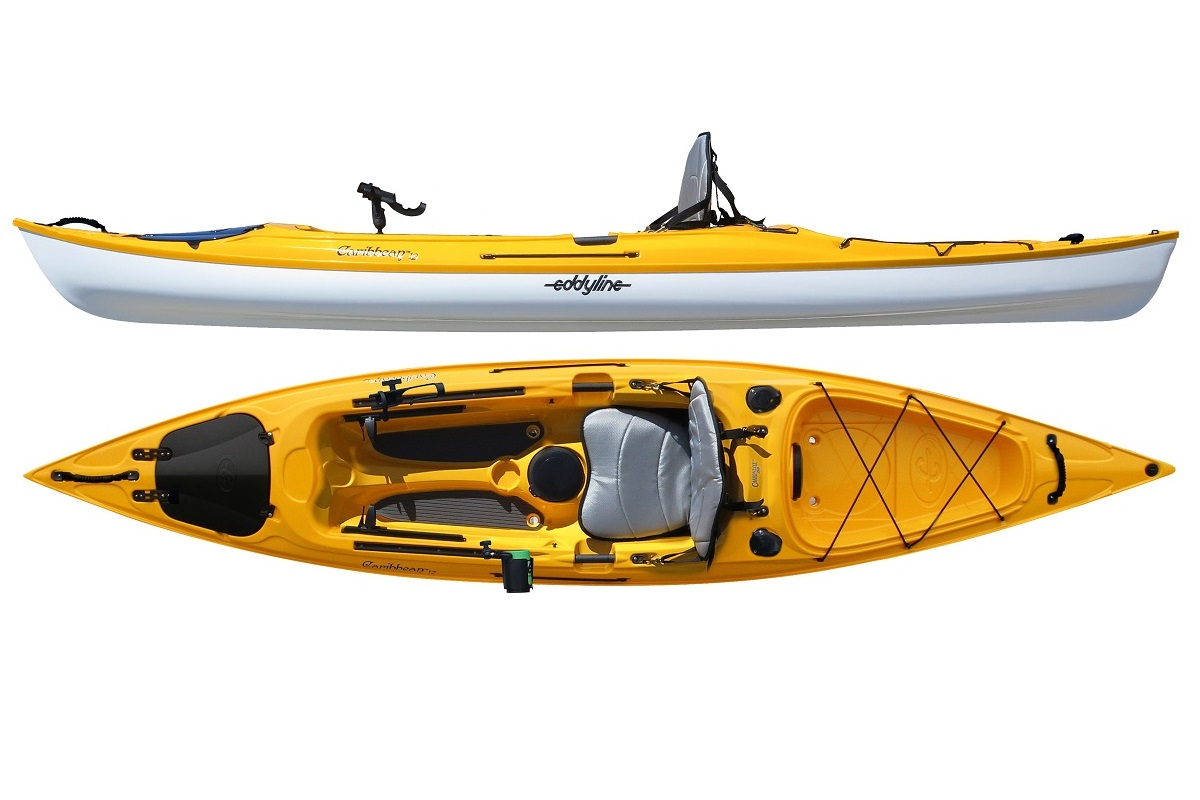 Eddyline Caribbean 12 Angler Kayak - Yellow / White