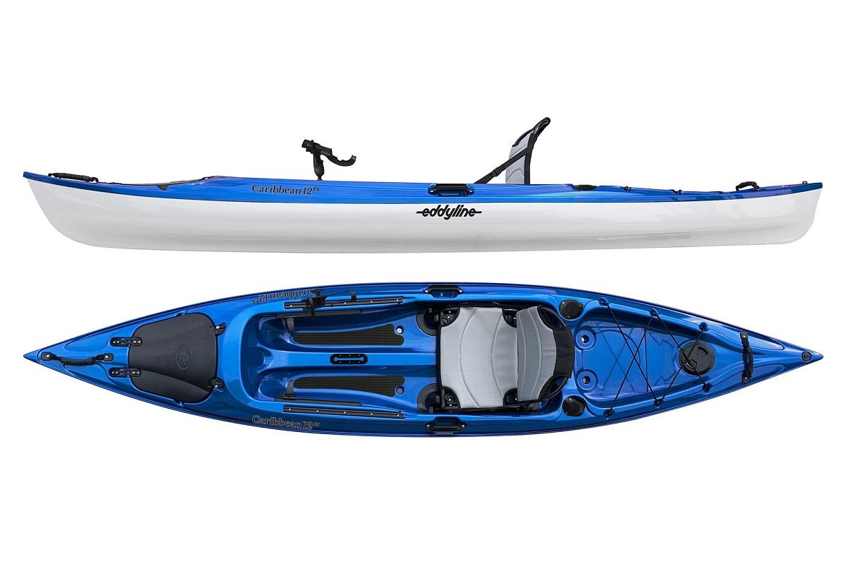 Eddyline Caribbean 12 FS Angler Kayak - Blue / White