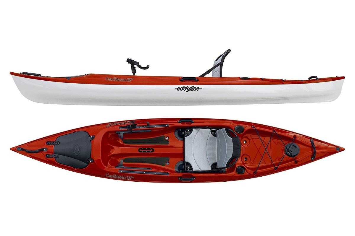 Eddyline Caribbean 12 FS Angler Kayak - Red / White