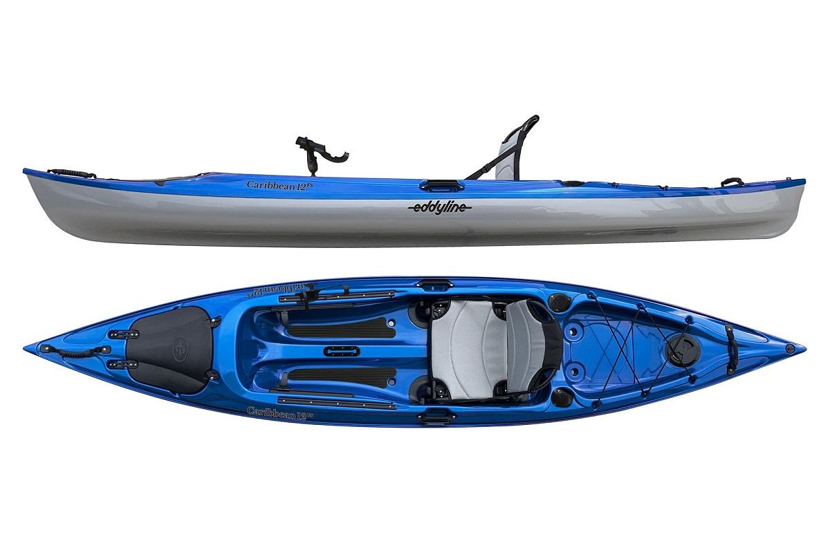 Eddyline Caribbean 12 FS Angler Kayak - Blue / Silver