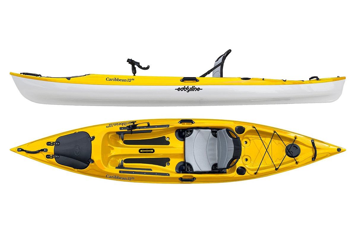 Eddyline Caribbean 12 FS Angler Kayak - Yellow / White