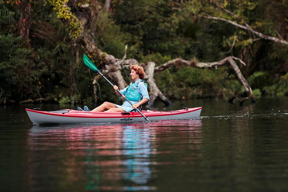 Eddyline Caribbean 12FS Kayak - Red Pearl On The Water