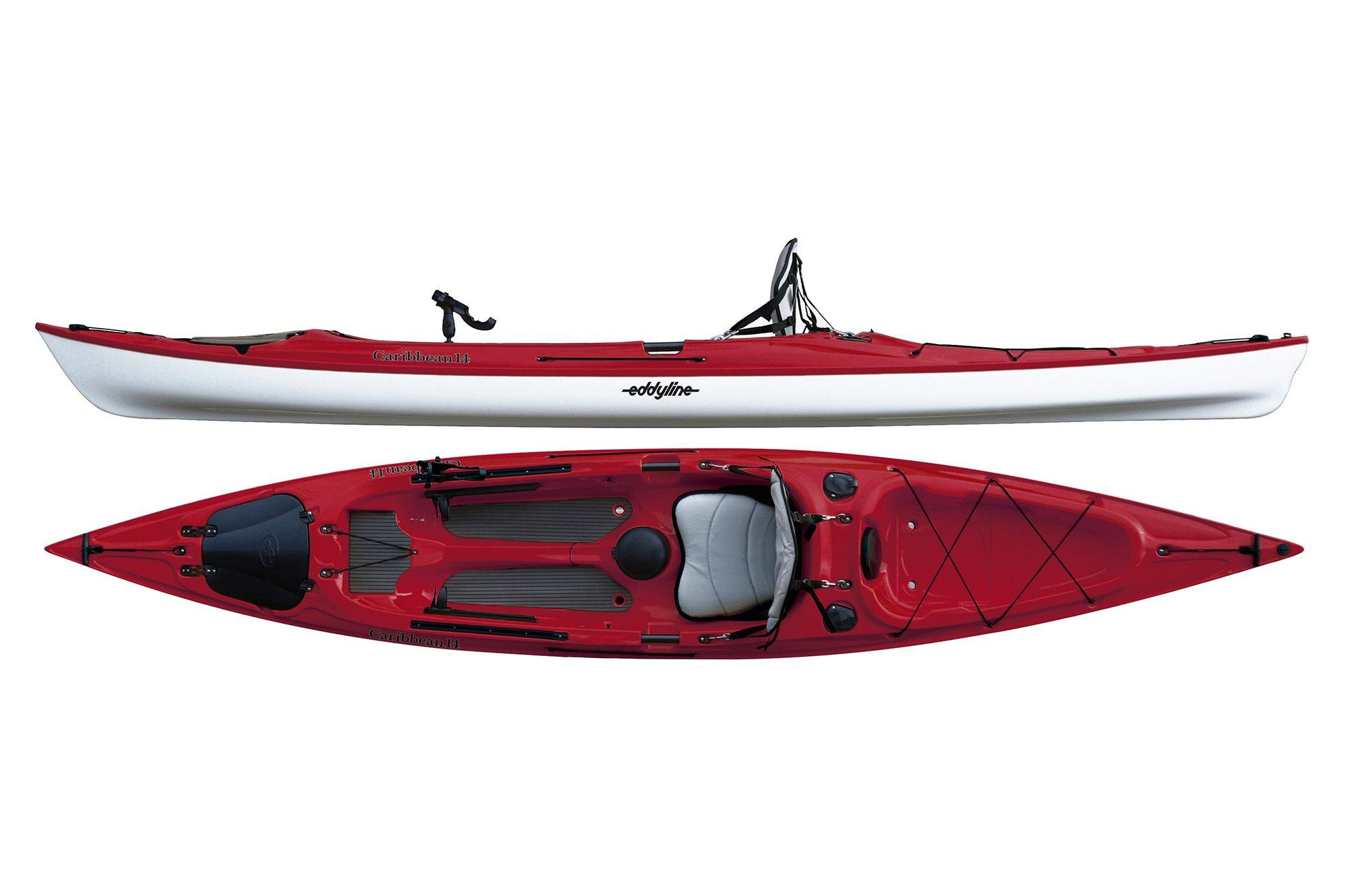 Eddyline Caribbean 14 Angler Kayak - Red Pearl / White