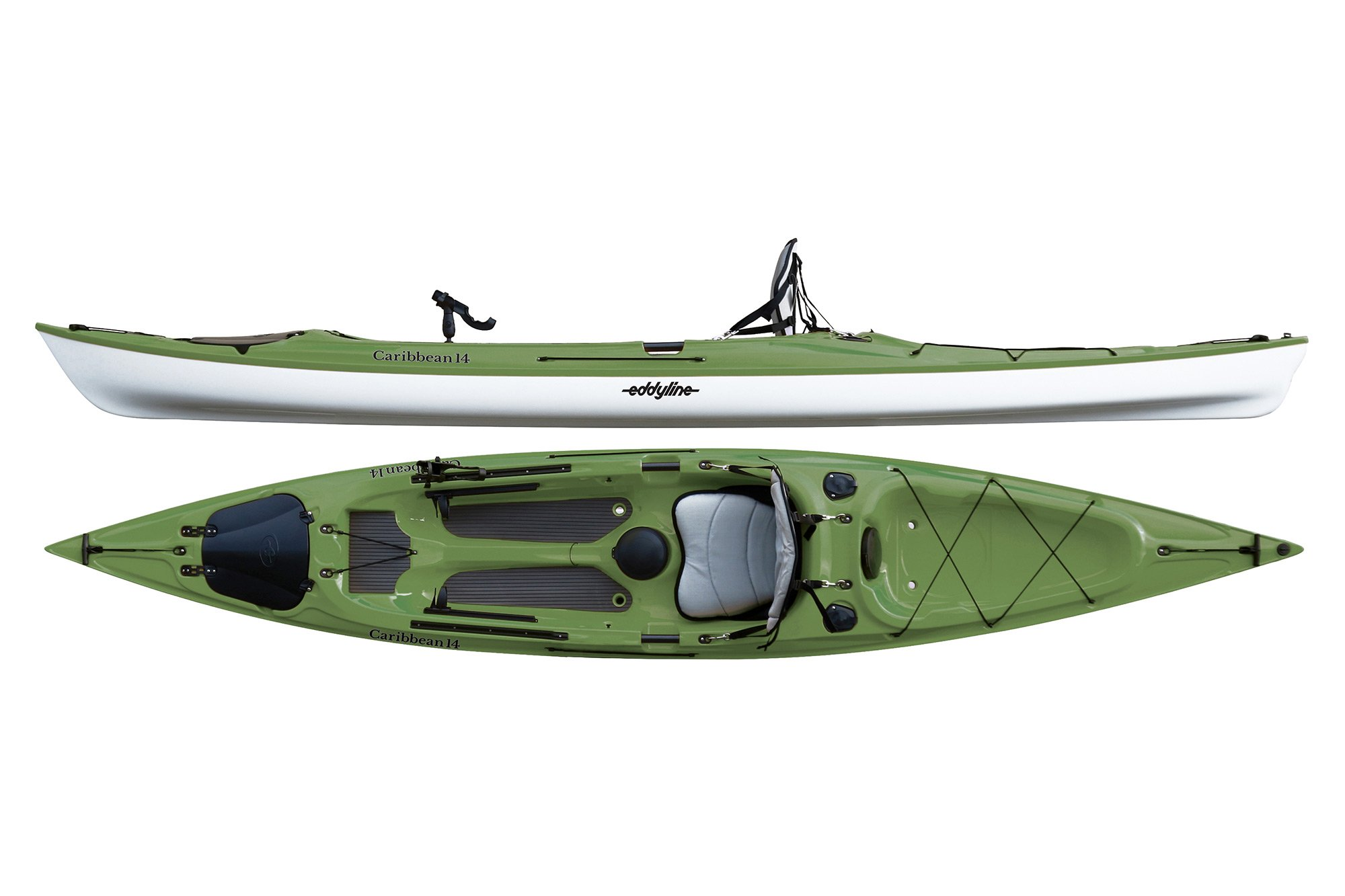 Eddyline Caribbean 14 Angler Kayak - Seagrass / White