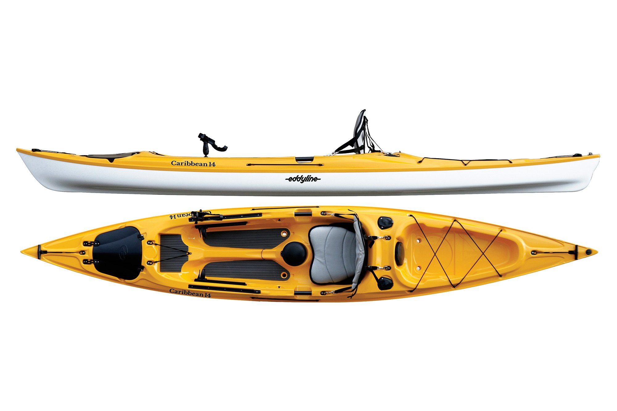 Eddyline Caribbean 14 Angler Kayak - Yellow / White