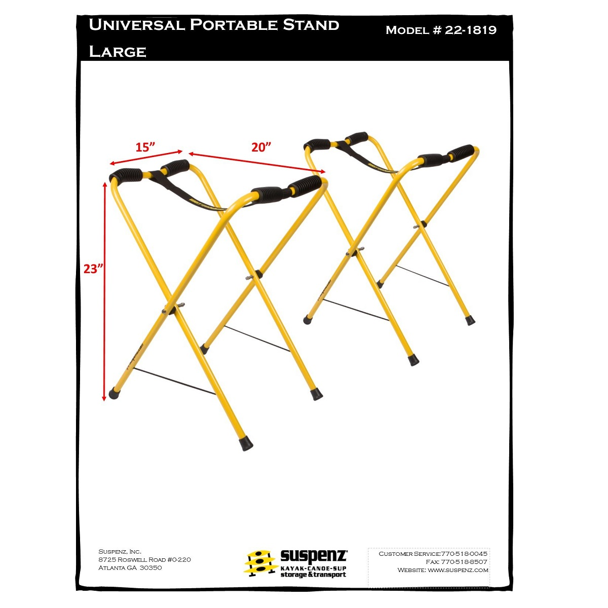 Suspenz Universal Portable Boat Stands - Large Dims