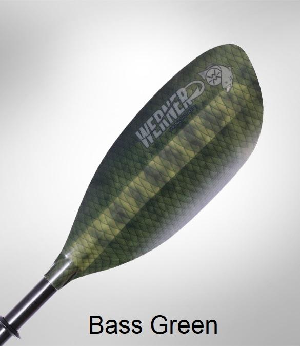 Werner Shuna: Hooked Kayak Fishing Paddle - Bass Green