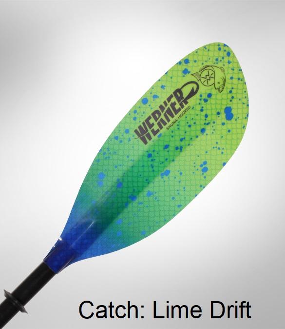 Werner Shuna: Hooked Kayak Fishing Paddle - Catch: Lime Drift