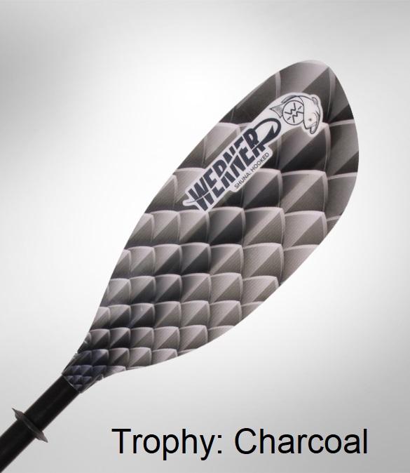Werner Shuna: Hooked Kayak Fishing Paddle - Trophy: Charcoal