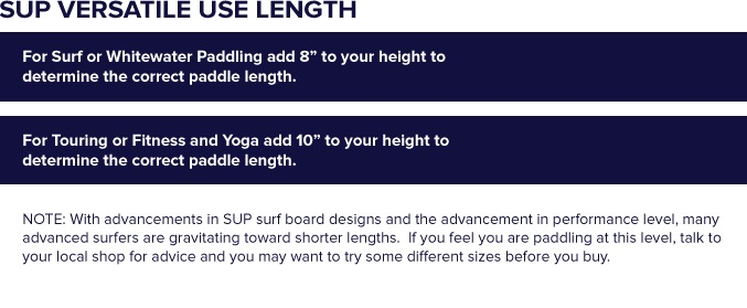 Werner Versatile Use Stand Up Paddle Sizing Chart